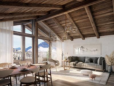 Représentation 3D de l'intérieur d'un penthouse à Megève