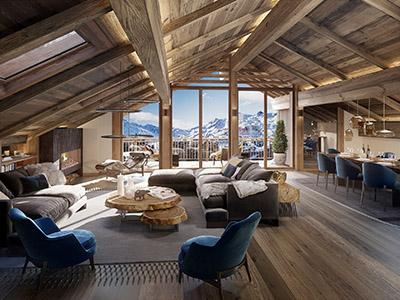 Image de synthèse 3D d'un appartement dans un chalet de montagne