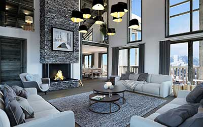 3D perspective of an apartment in Courchevel produced by the 3D creative agency Valentin Studio.