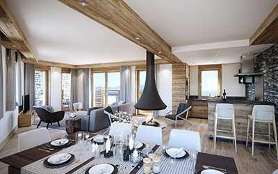 Studio architecte 3D : création photo 3D d'un appartement de luxe.