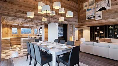 3D architecture Perspective of the dining room of a luxurious chalet created by our 3D studio.