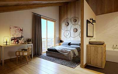 Image 3D d'une chambre de chalet de luxe réalisée par une agence de graphistes 3D professionnels