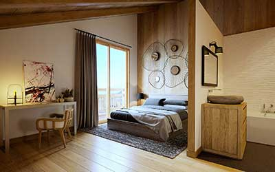 3D Image of a room of a luxurious chalet produced by professional 3D computer graphic designers agency.