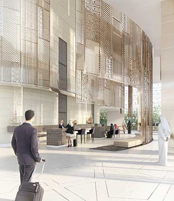 Photorealistic lobby made from computer generated images - 3D infographics.
