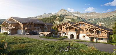 Image de synthèse 3D de deux chalets dans la montagne en été