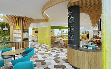 Photo de rendu 3D restaurant en image de synthèse.