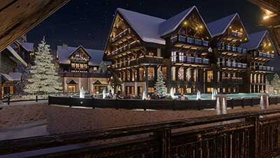 3D Photo of a batch of chalets at night in Oron Switzerland.