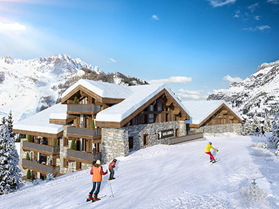 Représentation 3D d'une intégration de chalet dans la montagne, à côté des pistes de ski