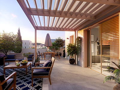 Image de synthèse 3D de la terrasse d'un appartement
