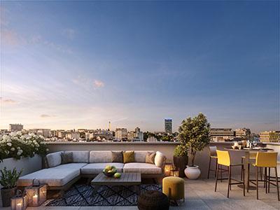 Image de synthèse 3D d'un rooftop à Paris en fin de journée