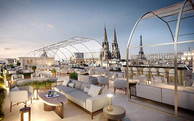 Image de synthèse 3D d'une terrasse luxueuse surplombant Paris