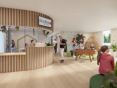 Image 3D d'une salle d'attente et de jeux moderne