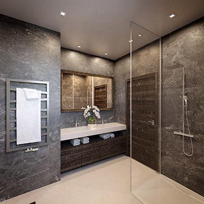 Visualisation 3D d'une salle de bain luxueuse dans un chalet