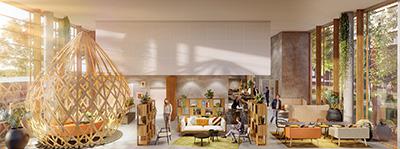 Rendu 3D d'une salle de détente et de repos dans un bâtiment culturel