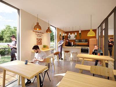 Représentation 3D d'une salle de repas dans une entreprise