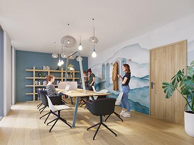 Rendu 3D d'une salle de réunion moderne et design