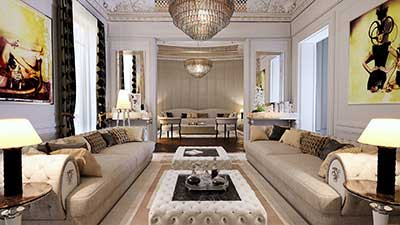 3D Photo of a luxurious living room like Haussmann for a 3D real estate project.