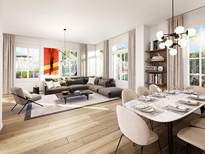 Image de synthèse 3D d'une pièce de vie dans un appartement moderne