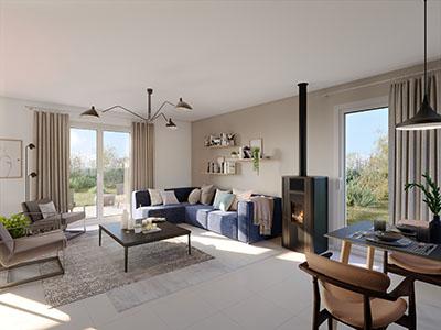 Salon moderne dans un appartement réalisé en 3D