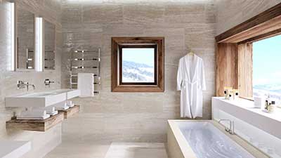 3D Perspective  of a luxurious bathroom of a chalet created for real estate promotion.