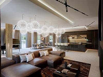 Perspective 3D d'un salon moderne et luxueux