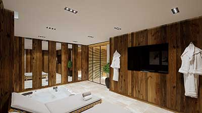 3D Real estate plan of a SPA of a luxurious chalet in the mountains.