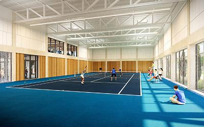 Représentation 3D d'un terrain de tennis en intérieur