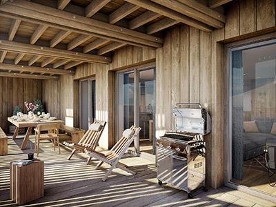 Image 3D d'une terrasse d'un chalet