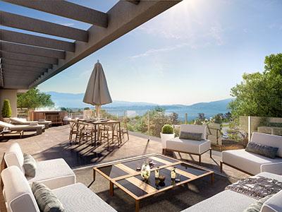 Terrasse réalisée en 3D avec spa et vue sur un lac