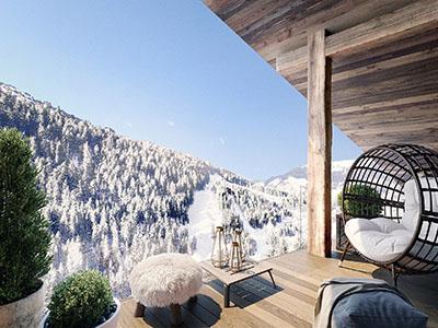 Création 3D d'un balcon avec vue sur la montagne dans un chalet