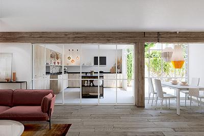 Vue 3D d'un salon et d'une cuisine avec verrière