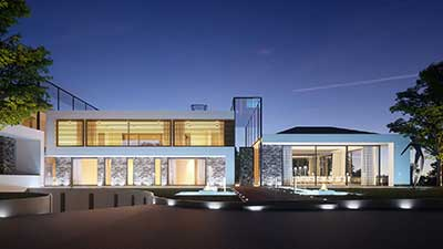 photorealistic 3D rendering of a luxurious villa.