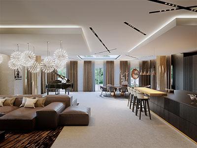 Image photo-réaliste 3D de la pièce de vie d'une villa de luxe